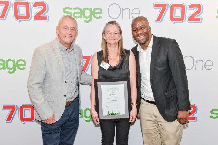 Image of Dr Tanya, 702's John Robbie and Xoliani Gwala at the 2016 SBA Awards